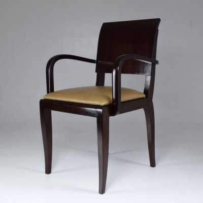 French Vintage Art Deco Mahogany Chair, 1940s