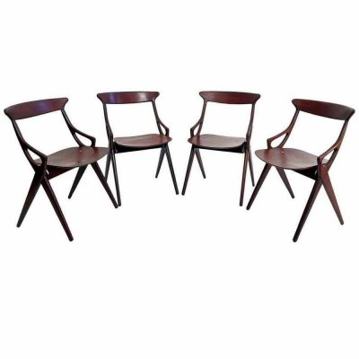 Set of 4 Dining Chairs by Arne Hovmand-Olsen for Mogens Kold, Denmark