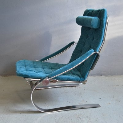 Scandinavian chrome flat steel chair with an adjustable backrest, 1970s