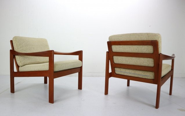 Set of Two Teak Lounge Chairs by Illum Wikkelsø for Niels Eilersen, Denmark 1960