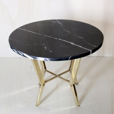 Black marble top coffee table with brass structure, 1970s