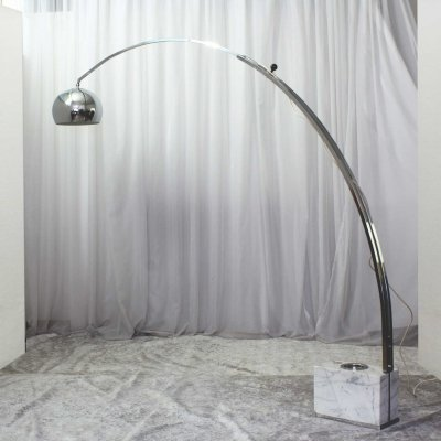 Vintage Italian Floor Lamp with Carrara Marble Base, 1970s