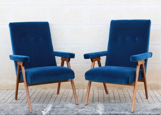 Set of Two 1960s Vintage Italian Reclining Armchairs With Blue Velvet Cover