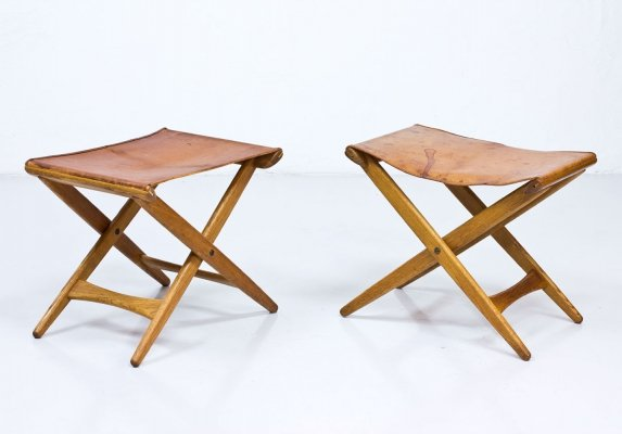 Pair of Foldable Stools by Uno & Östen Kristiansson for Luxus
