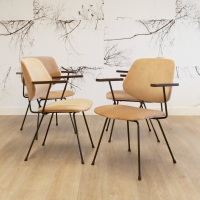Set of 4 Arm Chairs by Wim Rietveld for Kembo, 1950s