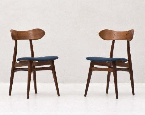 Set of 2 dining chairs by Louis Van Teeffelen for Wébé, Dutch design 1950's