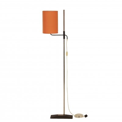 Vintage Floor Lamp with Adjustable Orange Shade, 1970s