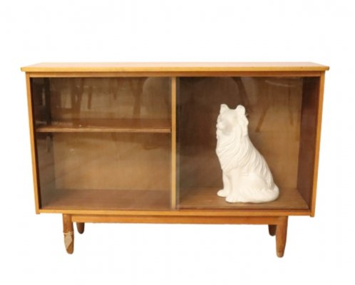 Teak book cabinet with glass