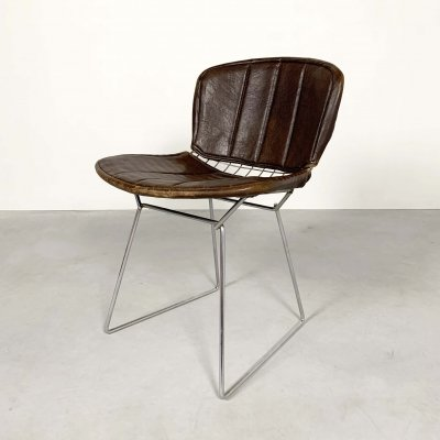 Dining Chair with Leather Case by Harry Bertoia for Knoll, 1970s