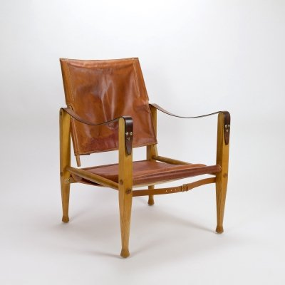 Cognac Leather Safari Chair by Kaare Klint for Rud Rasmussen, Denmark 1960s