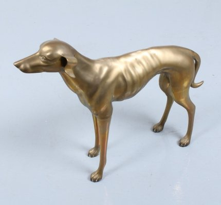 Lifesize brass whippet greyhound dog statue, 1960s