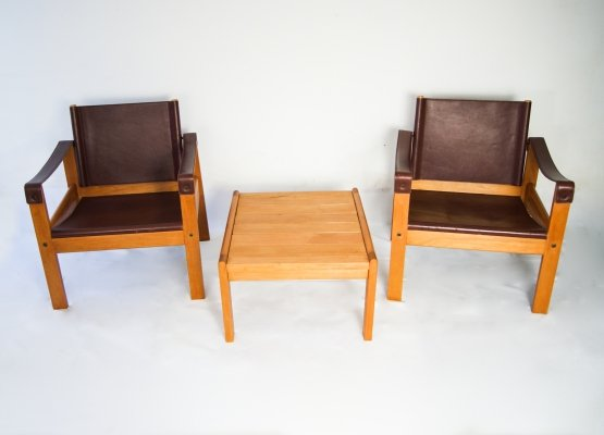 Karl Heinz Bergmiller for Escriba Pair of Safari Leather Armchairs & Table