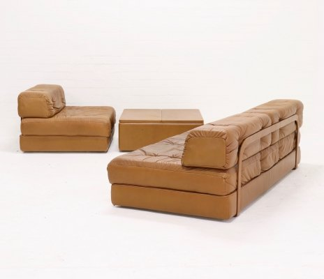 Wittmann 'Atrium' Modular Seating Group Daybed in Cognac Leather, 1970s