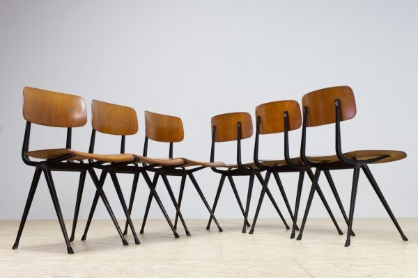 Set of Six Friso Kramer Result School Chairs in Plywood with Black Frame, 1962
