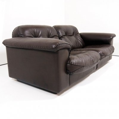 Chocolate brown leather sofa 'model DS 101' by De Sede