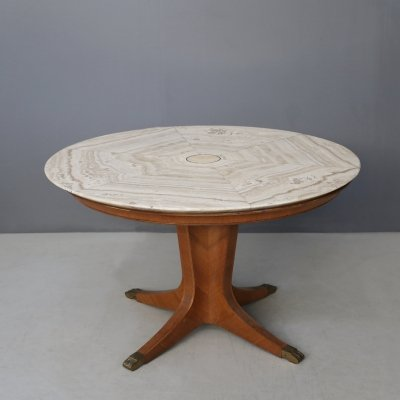 Paolo Buffa MidCentury Round Table in onyx & wood, 1950s