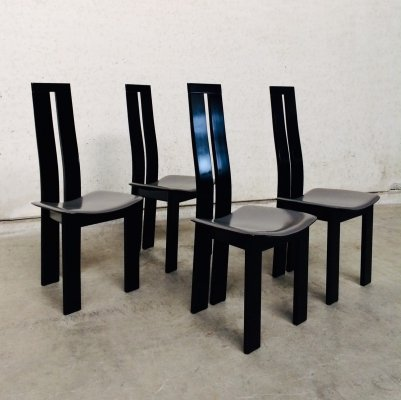 Set of 4 Postmodern Design Dining Chairs by Pietro Costantini, Italy 1970's