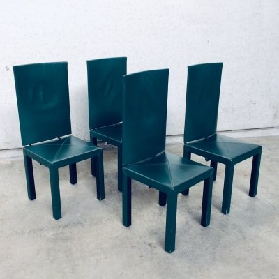 Set of 4 B&B Italia Arcadia Arcara High Back Dining Chairs by Paolo Piva, Italy 1980's