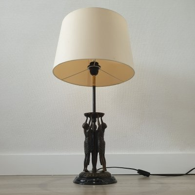 Art deco bronze sculpture & black marble table lamp