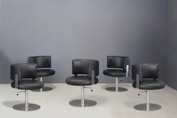 Set of 5 MidCentury chairs by Formanova in in black leather & steel, 1970s