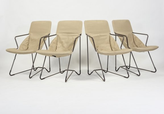 Set of 4 modern sculptural armchairs, 1980s