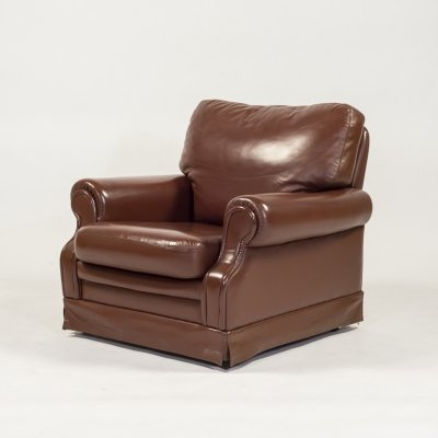1970's Italian design lounge armchair in brown leather