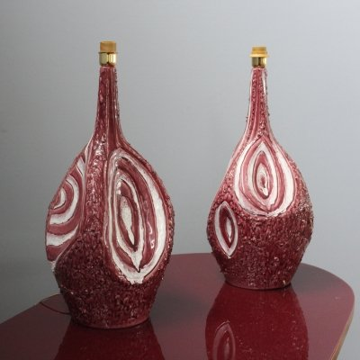 Pair of Italian ceramic table lamps by Duca di Camastra, 1960/70