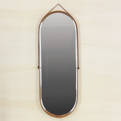 1950s Italian Lacquered Vintage Eliptical Mirror