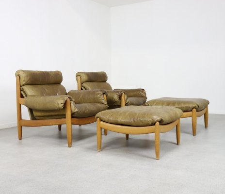 Pair of Brazilian style lounge chairs + ottoman by Carl Straub, 1970s