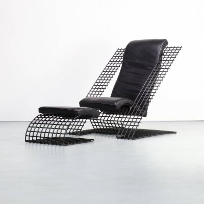 80s Postmodern leather cantilever wire lounge chair & ottoman