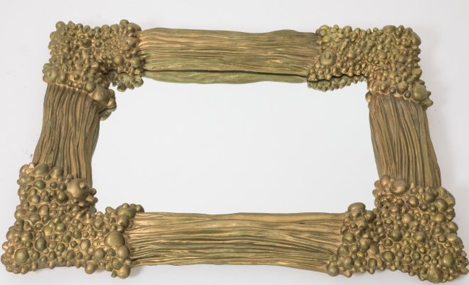 Gold painted french brutalist mirror made from plaster, 1970s