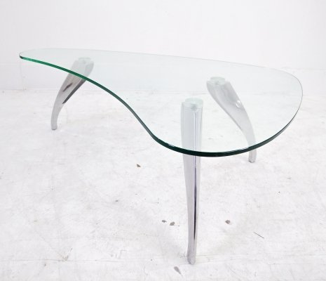 Glass Kidney Coffeetable with Cast Aluminium Feet