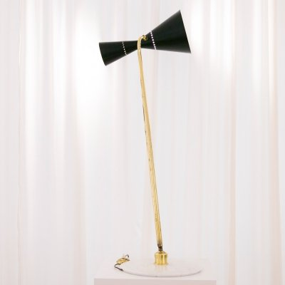 Labeled Stilnovo diabolo adjustable brass lamp with marble foot, 1960s