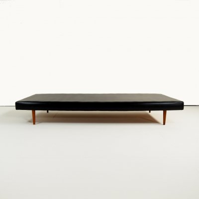 1950's vintage daybed in black skai leather