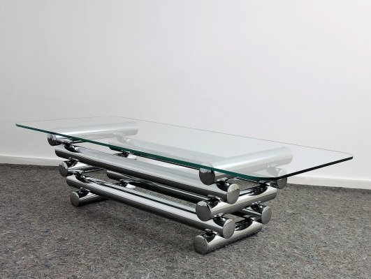 Luxurious Tubular Chromed Coffee Table, 1970's