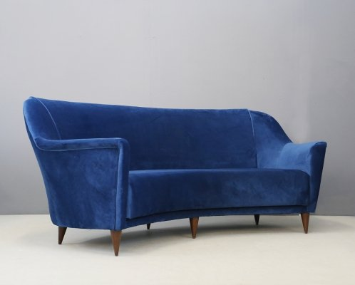Curved sofa by Ico Parisi for Ariberto Colombo Cantù in blue velvet, 1950s