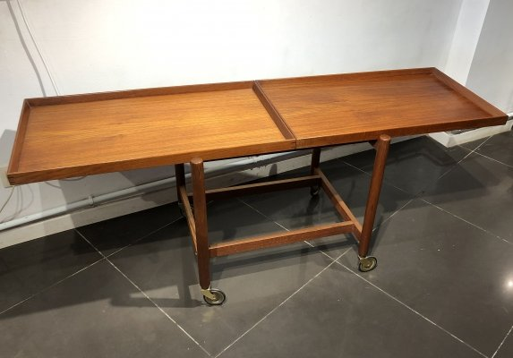Teak Serving Trolley with Extendable Tray by Poul Hundevad, 1960s