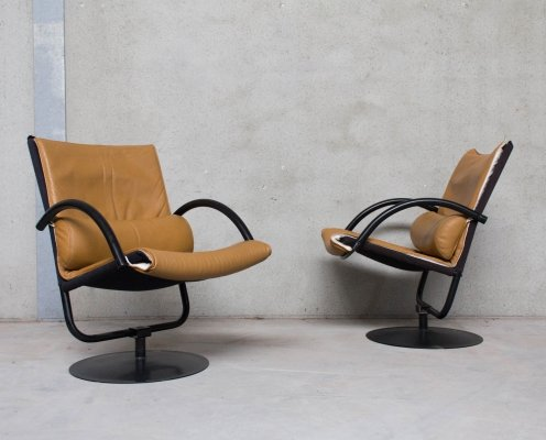 Set of 2 Swivel Chairs in Leather, 1980s
