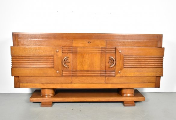 Large scale 1930s French oak cabinet by Charles Dudouyt