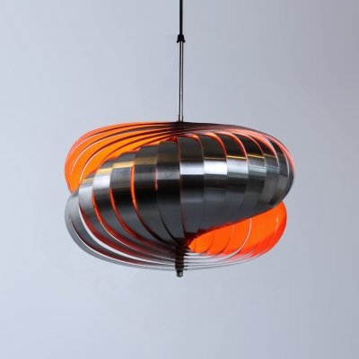 Metal spiral twirling pendant light by Henri Mathieu, 1970s
