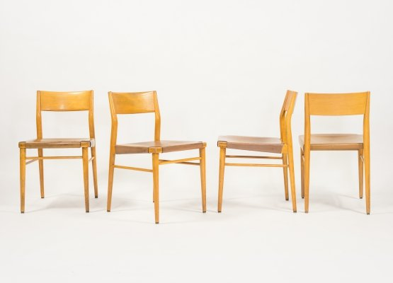 Set of 4 saddle leather 'Model 351' chairs by George Leowald for Wilkhahn, 1960s