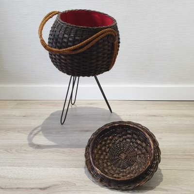 Standing rattan wicker knitting or storage basket, 1950s