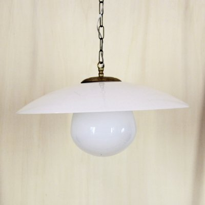 1950s italian vintage lamp with opaline lampshade