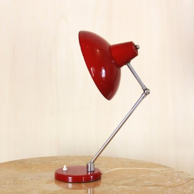 1940s Bauhaus Style Vintage Red Table Lamp