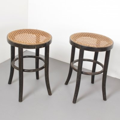 Pair of Vintage Thonet Bentwood Stools, Austria 1930s