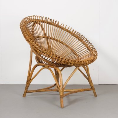 Vintage Bamboo & Wicker Chair, the Netherlands 1970s