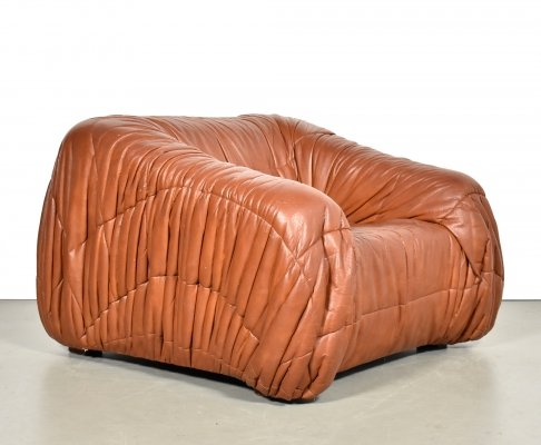 De Pas, D'urbino & Lomazzi Club Chair in cognac Leather, 1970s