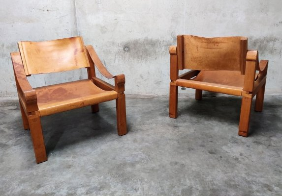 Pair of Pierre Chapo sahara S10 Easy Chairs in Cognac Leather & Oak, France