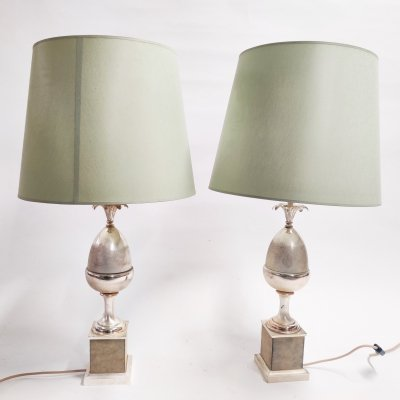 Pair of vintage acorn table lamps, 1970s