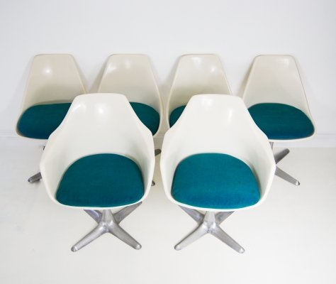 Set of 6 Maurice Burke for Arkana Dining Chairs With Original Seat Pads